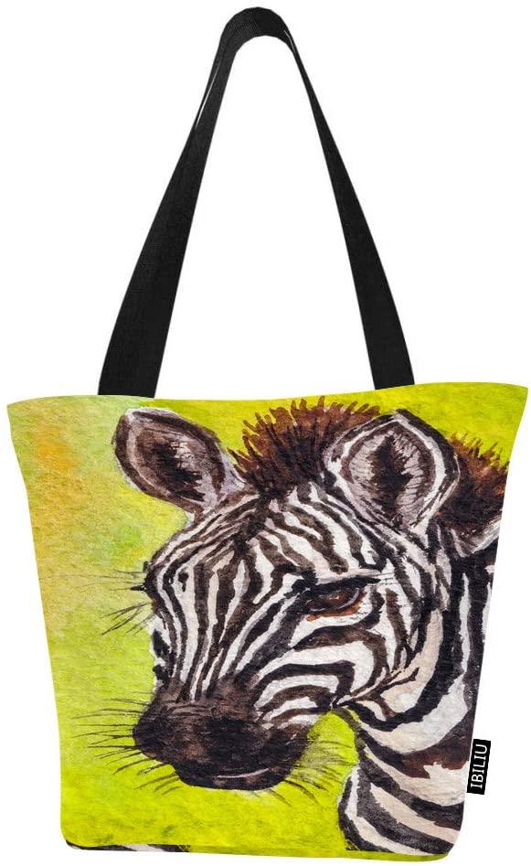IBILIU Zebra Shoulder Tote Bag For Women,Wild African animals watercolor striped horse Medium Shoulder bags Zipper Handbags Shopping Grocery bag for Office,School,outdoors