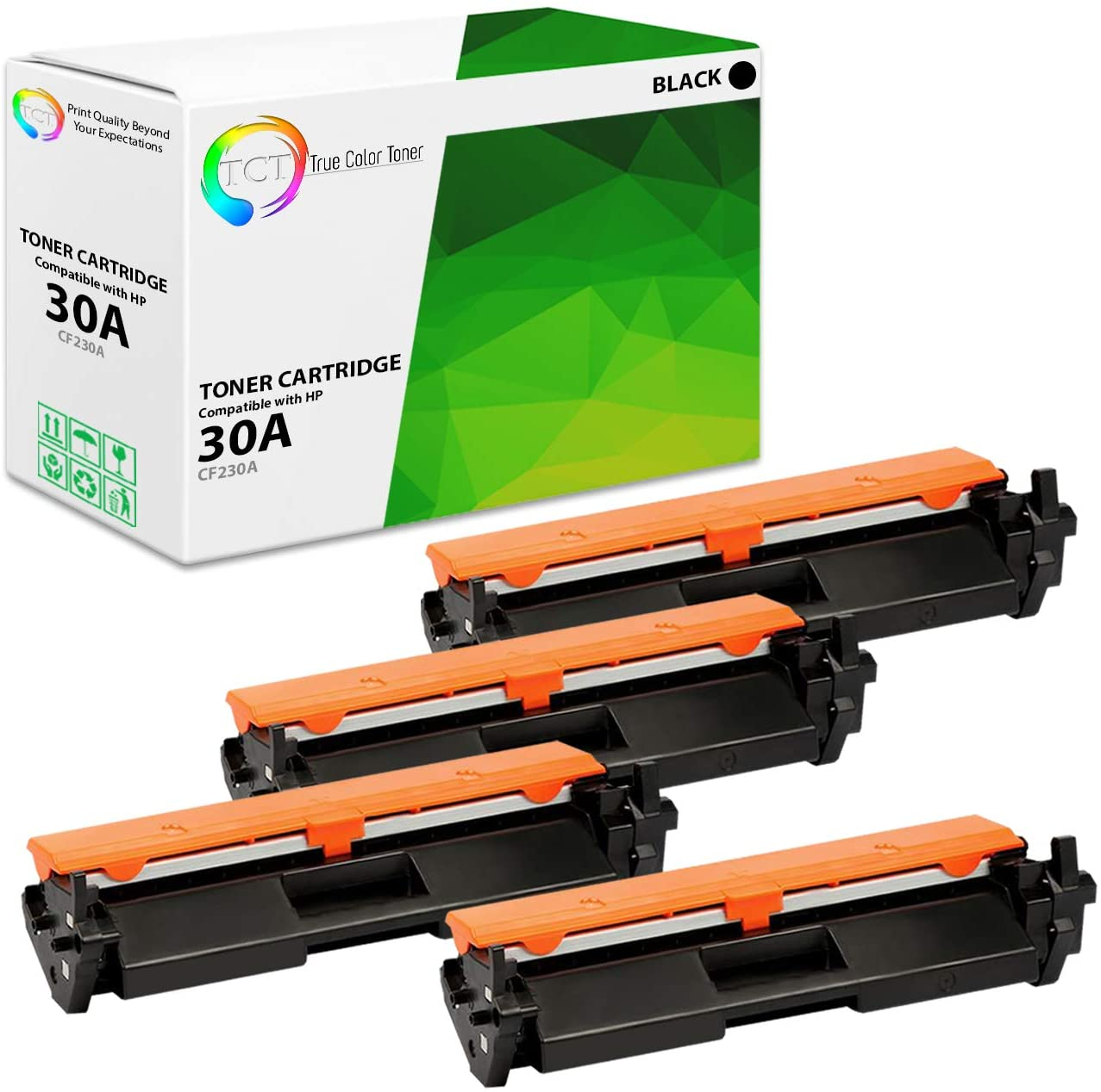 TCT Premium Compatible Toner Cartridge Replacement for HP 30A CF230A Black Works with HP Laserjet Pro M203dw M203dn M203d, MFP M277sdn M227fdw M277fdn Printers (1,600 Pages) - 4 Pack