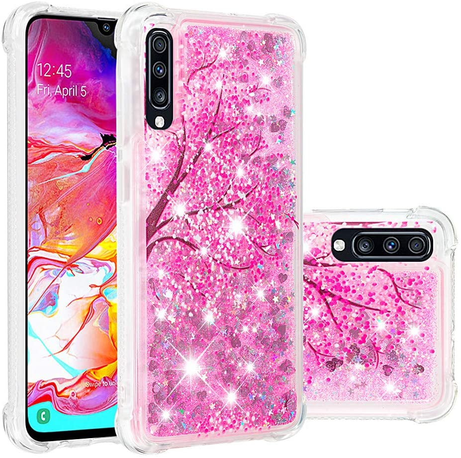 COTDINFORCA Samsung A70 Case, 3D Cute Painted Glitter Liquid Sparkle Floating Bling Quicksand Shockproof Protective Bumper Silicone Case Cover for Samsung Galaxy A70. Liquid - Cherry Blossoms