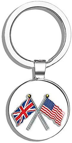 HJ Media Crossed Poles with USA & Union Jack Flags (UK British Britain) Metal Round Metal Key Chain Keychain Ring