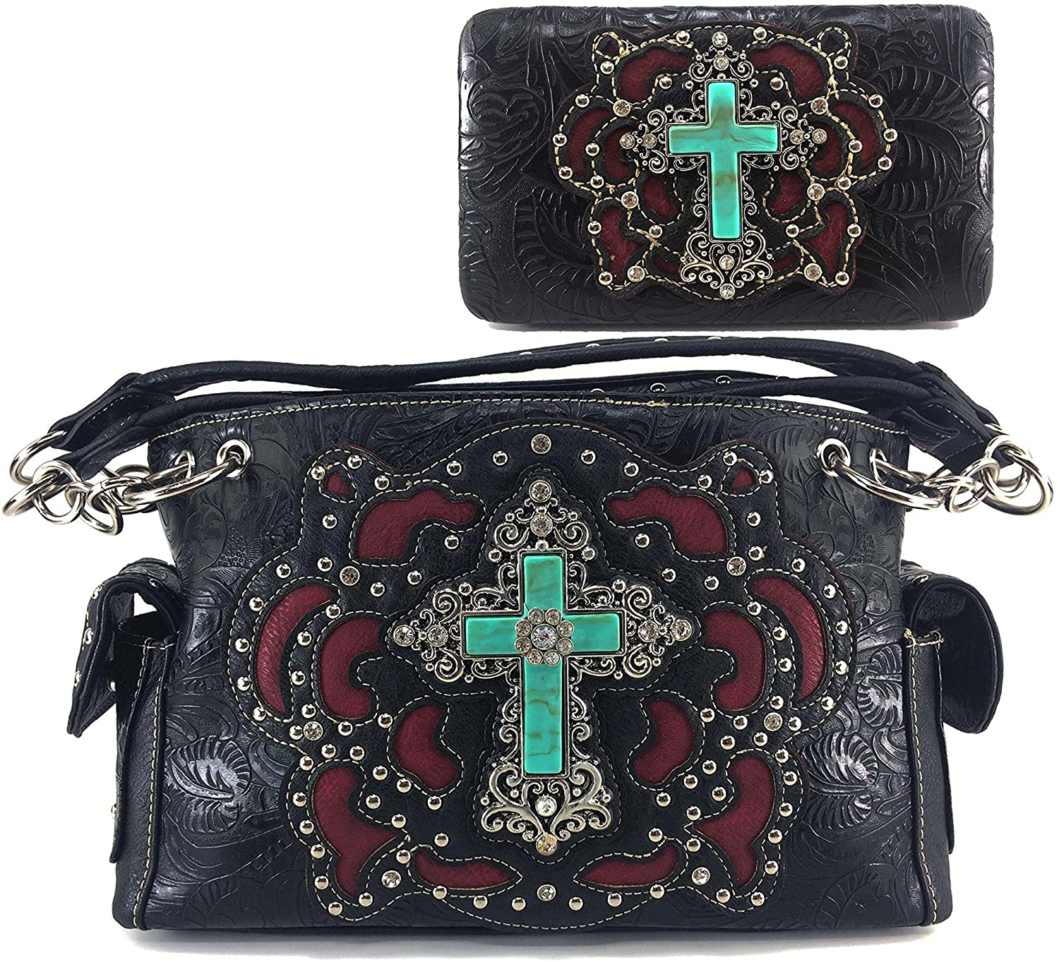 Justin West Paisley Embroidery Floral Tooled Leather Rhinestone Cross Shoulder Concealed Carry Handbag Purse