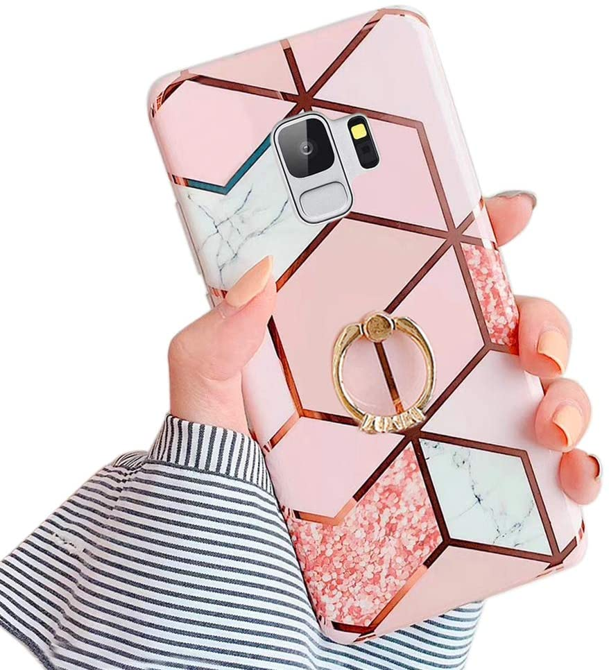 Qokey Compatible with Galaxy S9 Case,Marble Cute Fashion for Men Women Girls with 360 Degree Rotating Ring Kickstand Soft TPU Shockproof Cover Designed for Galaxy S9 Bling Marble