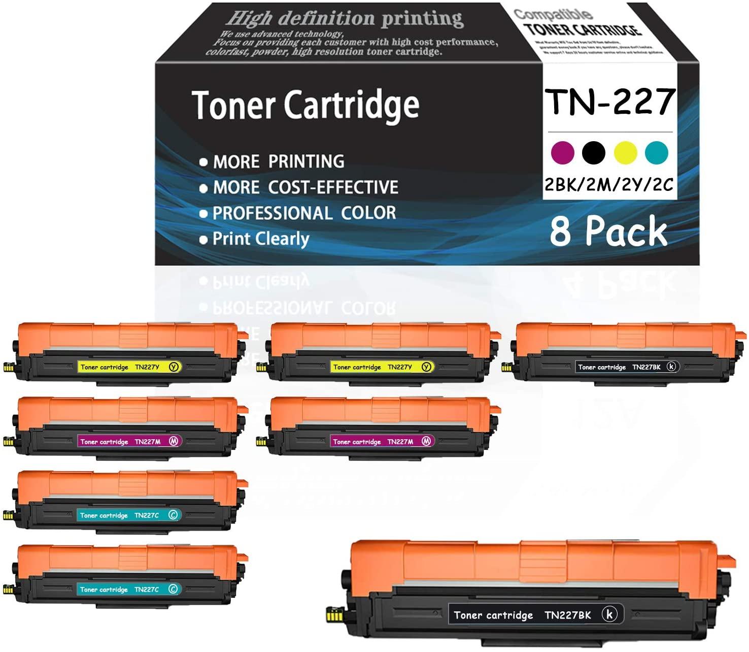 (8 Pack,2BK+2M+2Y+2C) TN227 TN227BK TN227C TN227M TN227Y TonerCartridgeCompatibleforBrother MFC-L3770CDW L3710CW L3750CDW L3730CDW HL-3210CW 3230CDW 3270CDW DCP-L3510CDW Printers,Sold by AcToner.