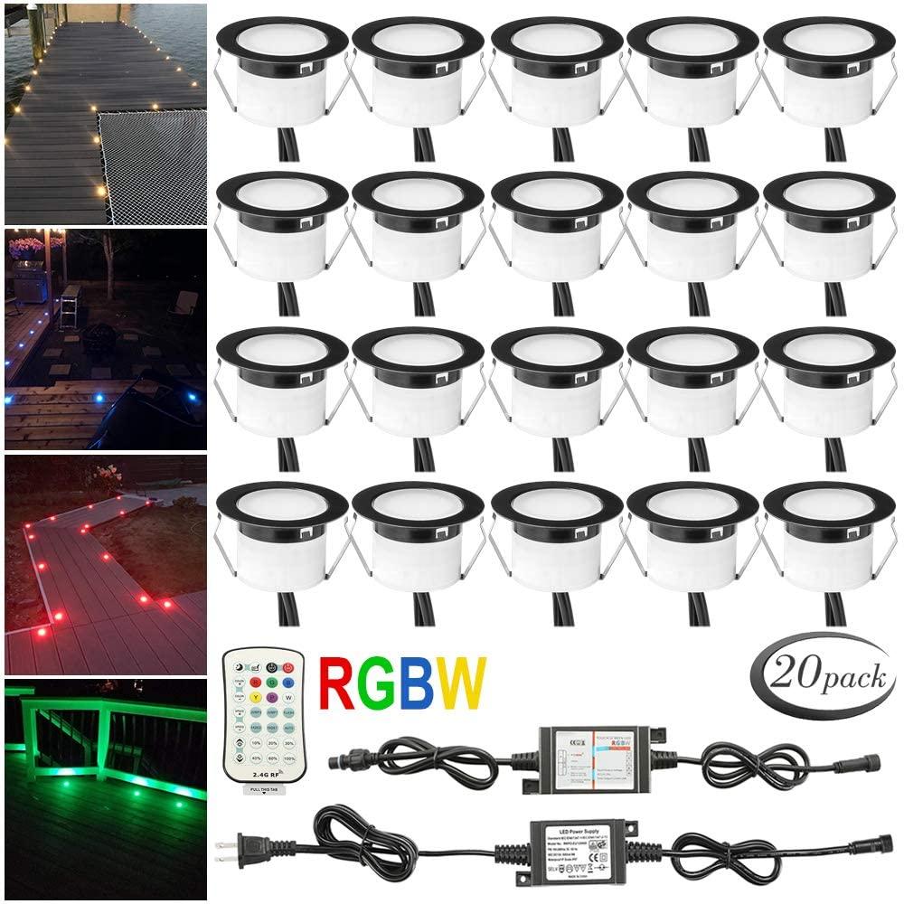 LED Deck Lights Kit RGBW, FVTLED 20pcs Muticolor & Warm White Low Voltage Waterproof Φ1.77