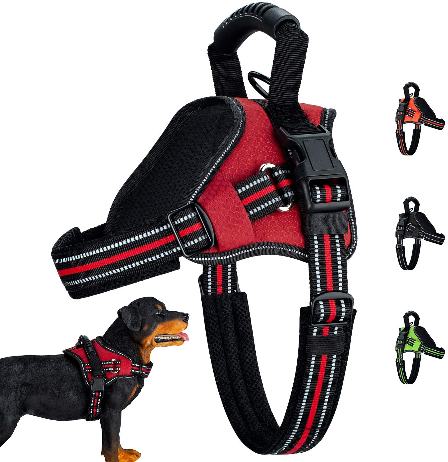 Wealer Dog Harness No-Pull Adjustable,Dog Vest with Training Handle Best Reflective Waterproof Material,Dog Vest Harness All Weather Breathable Mesh for Small Medium Large Dogs