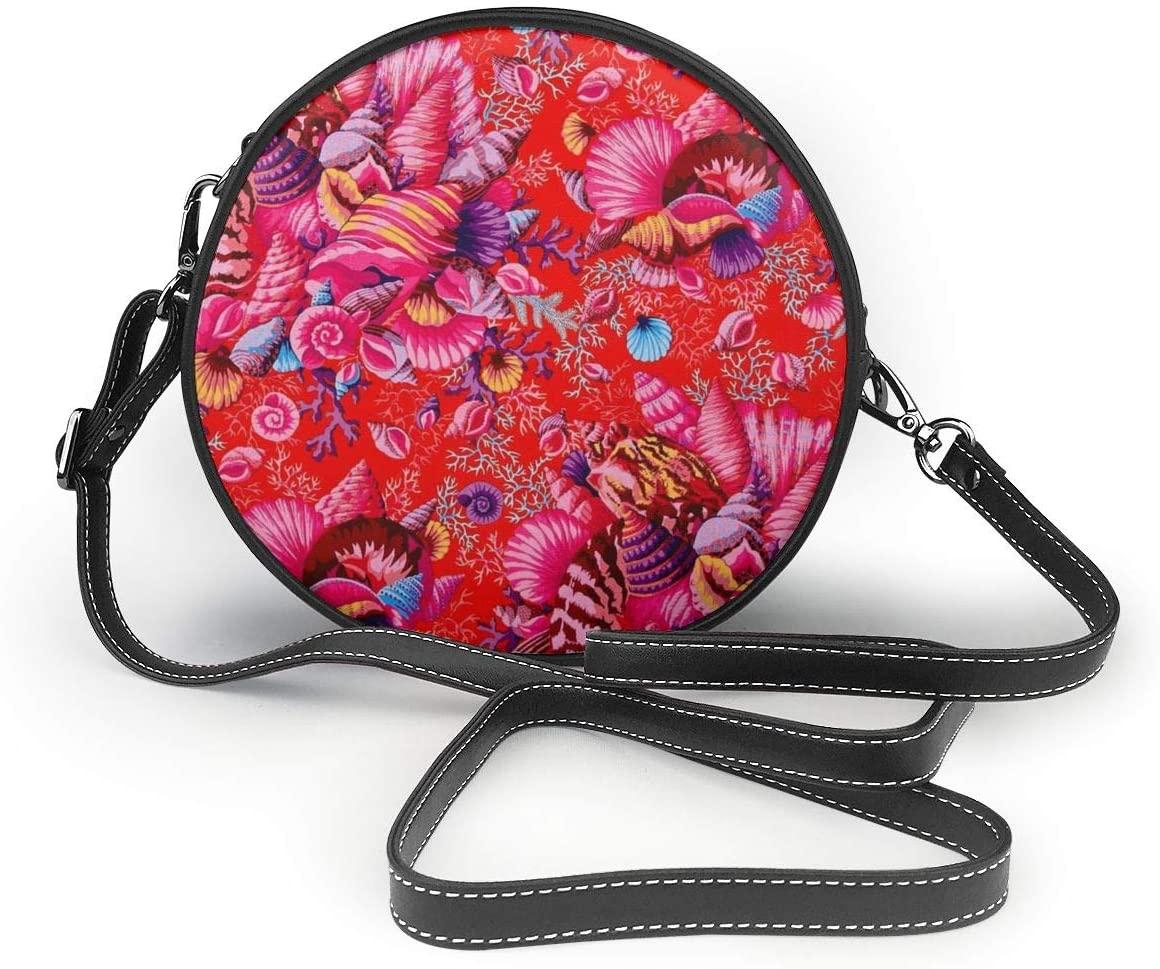 YongColer Women's Fashion Round Crossbody Shoulder Bag Purse Roomy Zippered Round Crossbody Wallet Chic Clutch Handbag (Beach Conch Starfish Red)