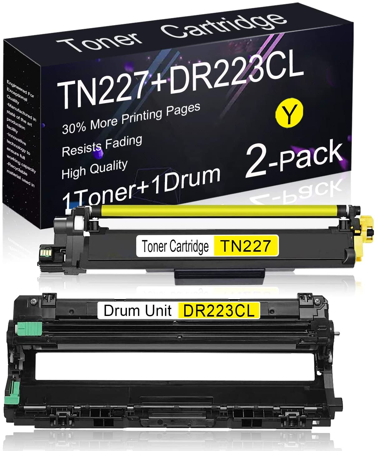 Compatible Toner/Drum Cartridge 2 Pack (1 Pack TN227 Toner + 1 Pack DR223CL Drum) Replacement for Brother DCP-L3550CDW, HL-3290CDW, HL-3230CDN, HL-3270CDW, HL-3210CW, MFC-L3710CW Printers.