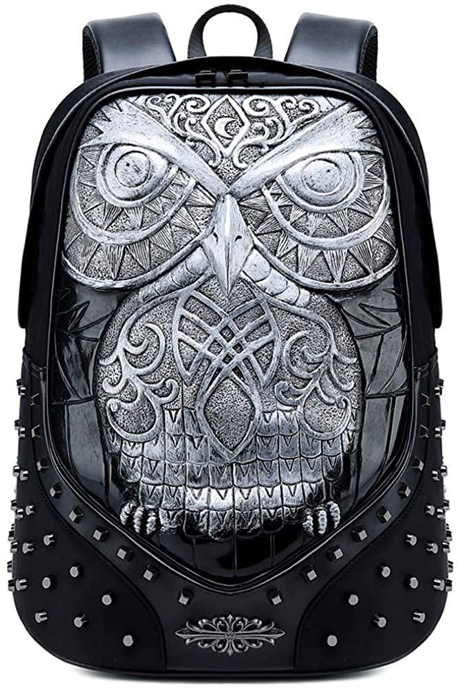 3D Print Animal Wolf owl Backpack Rivet Punk Rock bag Casual Travel Laptop Backpack Fashion PU Leather Bookbag