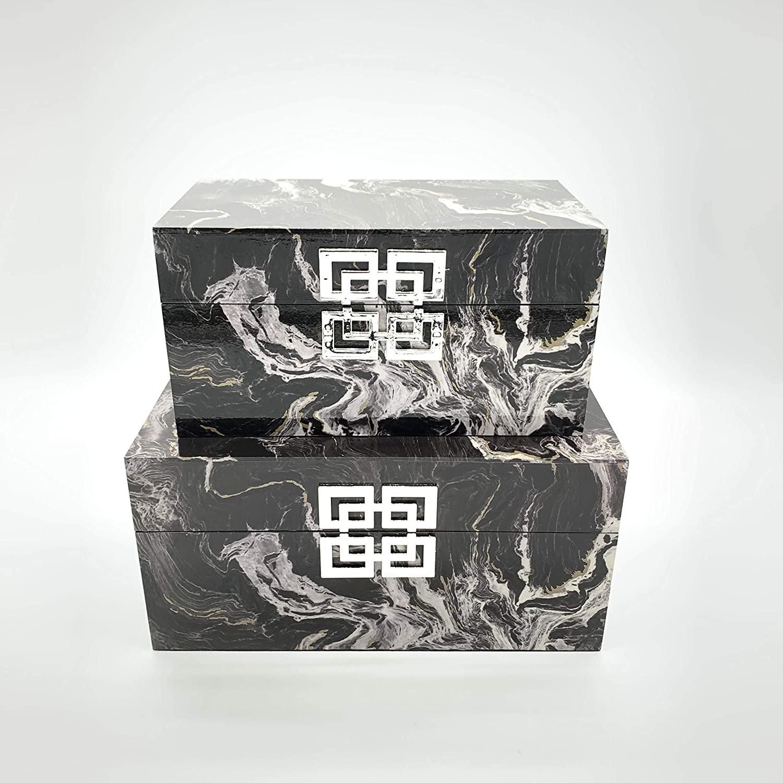 Galt International Black Marble Set Jewelry Box