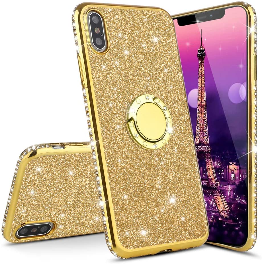 LEECOCO Samsung A70 Case Glitter Bling Diamond Sparkly Luxury Plating Silicon TPU Soft Shockproof Cover with Ring Stand Holder Compatible with Samsung Galaxy A70 Plating TPU Gold KDL