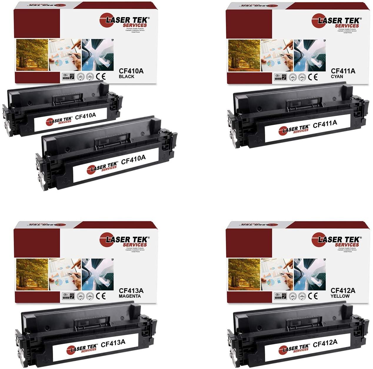 Laser Tek Services Compatible HP 410A CF410A CF411A CF412A CF413A Toner Cartridge Replacement for HP Laserjet Pro M452dn M452dw, MFP M477fdn Printers (Black, Cyan, Magenta, Yellow, 5 Pack)