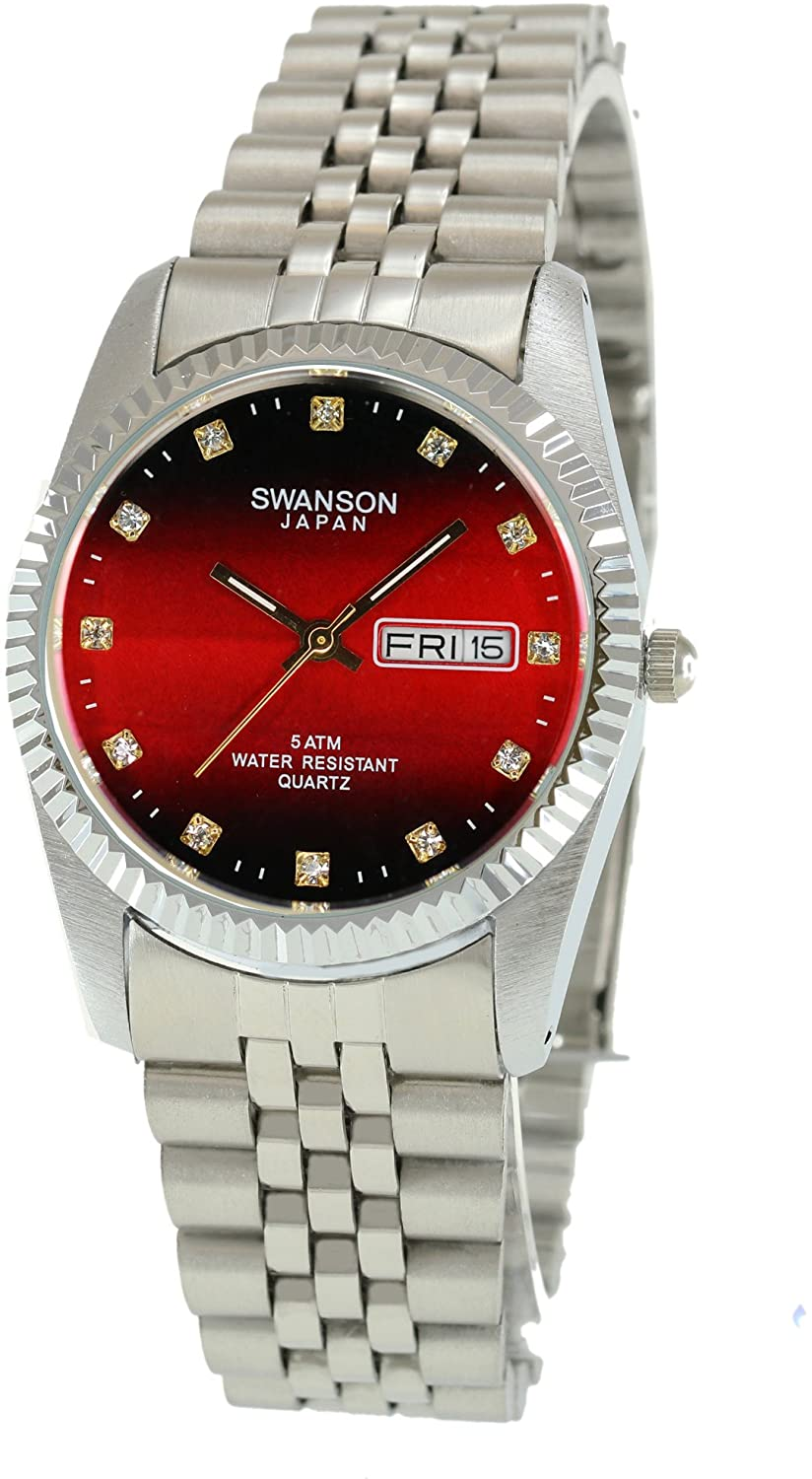 Swanson Men's Stainless Steel Day-Date Watch Red Fade Dial with Stone Numbers with Travel Case