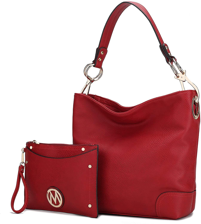 MKF Set, Hobo Bag for Women & Card Holder Purse – PU Leather Designer Shoulder Handbag – Top Handle Pocketbook