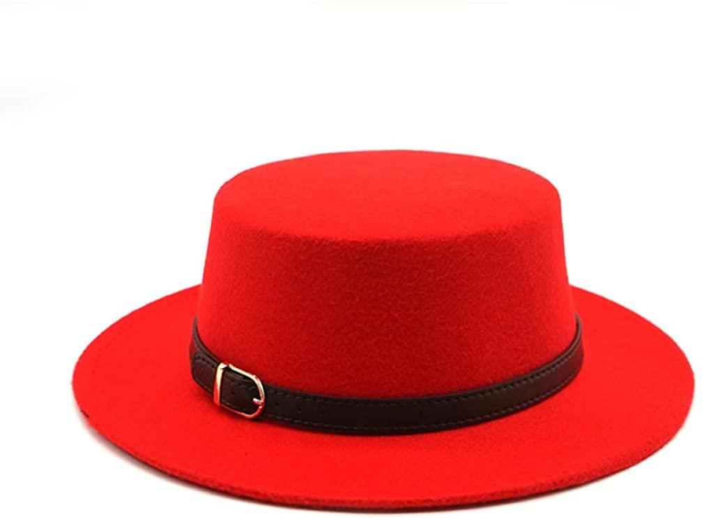 Unisex Retro Autumn Top Hat Felt Fedora Hats Belt Buckle Decorated Flat Brim Boater Hat