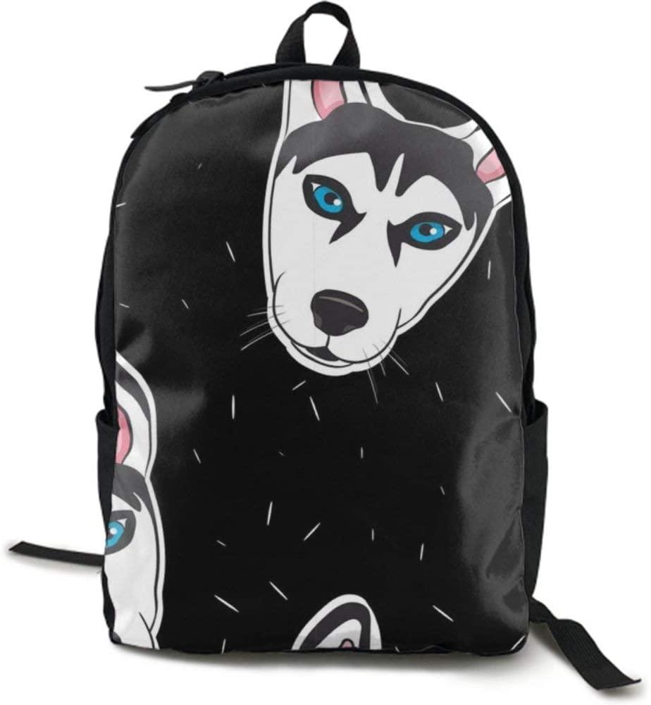 NiYoung Men Women Teens Big Capacity Travel Laptop Backpack Durable Water Resistant College School Bookbag Business Computer Bag, Husky Head