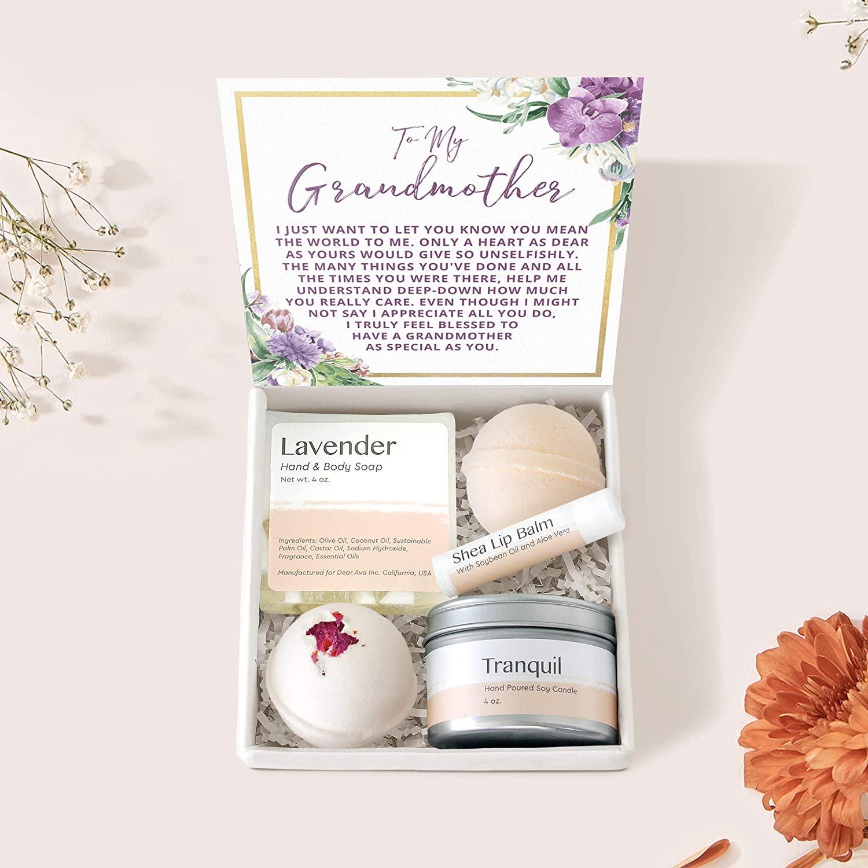 Grandmother Gift Box Set - Heartfelt Card & Jewelry Gift for Birthdays, Holiday, etc