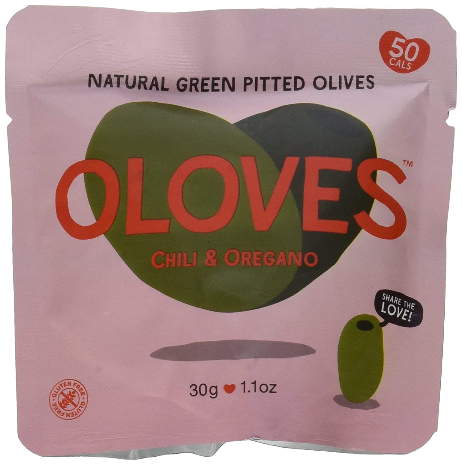 OLOVES Chili & Oregano | Fresh Green Pitted Olives | All Natural | Healthy Snack | Vegan | Gluten Free | Kosher | Low Cal | 40 Pack (1.1oz Bags)