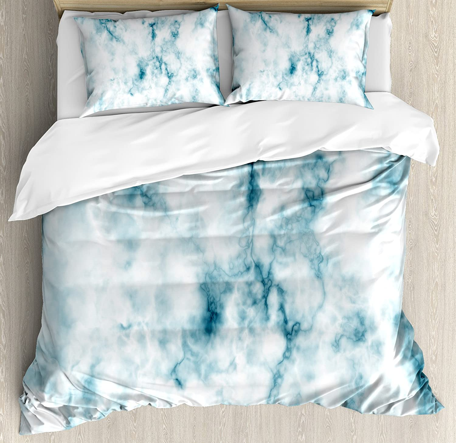 Ambesonne Nature Duvet Cover Set, Fluffy Cloud Skyline Like Marble Motif with Grunge and Retro Features Art Image Print, Decorative 3 Piece Bedding Set with 2 Pillow Shams, King Size, White Turquoise