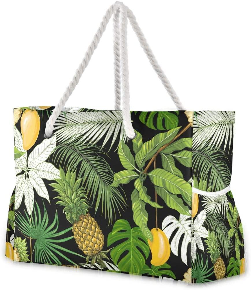 Beach Tote Bags Pineapple Mango Tropical Palm Leaf Summer Travel Tote Bag Large Gym Tote Bag Shoulder Handbag for Women