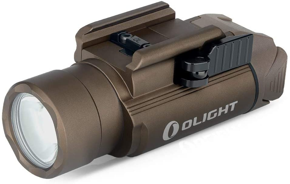 Olight PL-PRO Valkyrie 1500 Lumens Rechargeable LED Weaponlight Tactical Flashlight with Strobe Law Enforcement Hunting with 1913 Rail Adapter, MCC Charging Cable (Desert Tan)