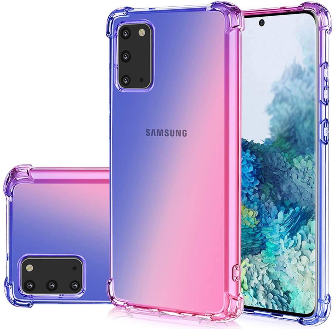 Gufuwo Case for Samsung S20, Galaxy S20 5G Cute Case, Gradient Slim Anti Scratch Soft Clear TPU Phone Case Cover Shockproof Case for Samsung Galaxy S20 (Blue/Pink)