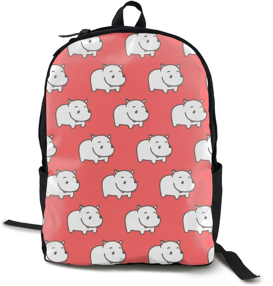 NiYoung Unisex Fashion Lightweight School College Backpack Casual Daypack Travel Business Outdoor Laptop Backpack with Side Pockets (White Hippo Pink)
