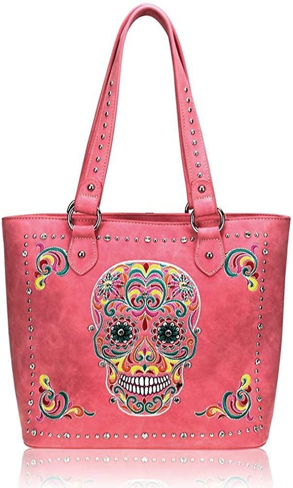 Montana West Leather Concealed Carry Tote Bag Sugar Skull Handbag Shoulder Bag For Women
