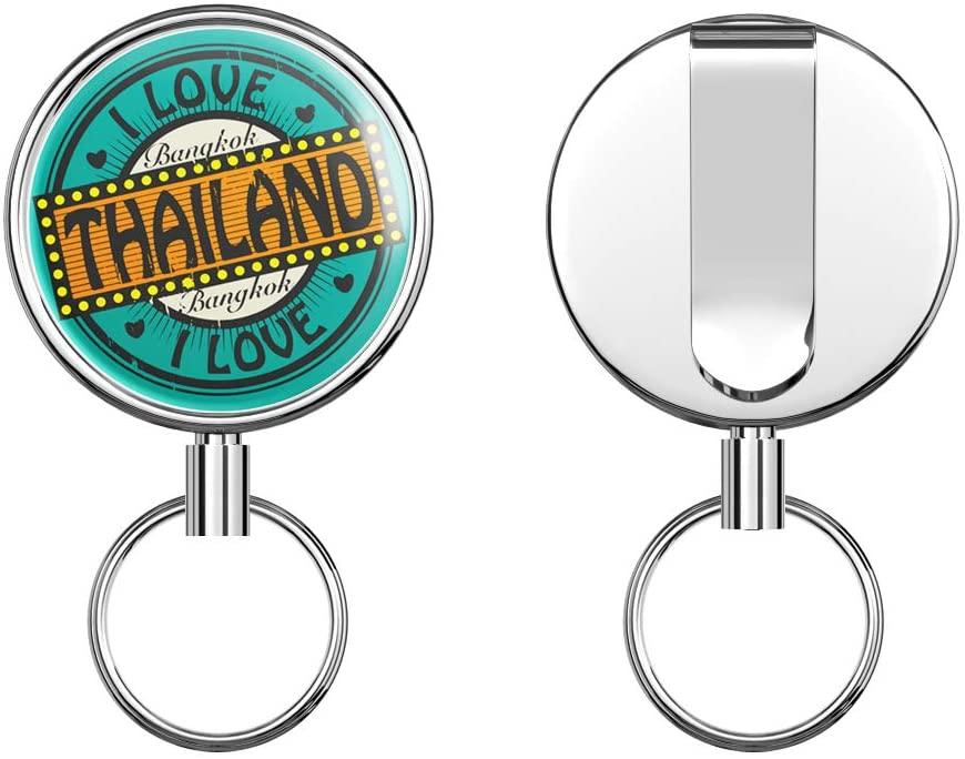 I Love Bangkok City Thailand Travel Label Round ID Badge Key Card Tag Holder Badge Retractable Metal Reel Badge and Key Holder with Belt Clip