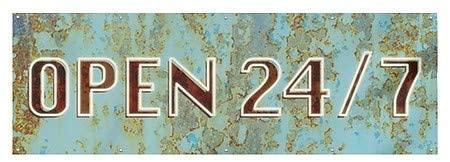 CGSignLab |Open 24/7 -Ghost Aged Blue Heavy-Duty Outdoor Vinyl Banner | 9x3