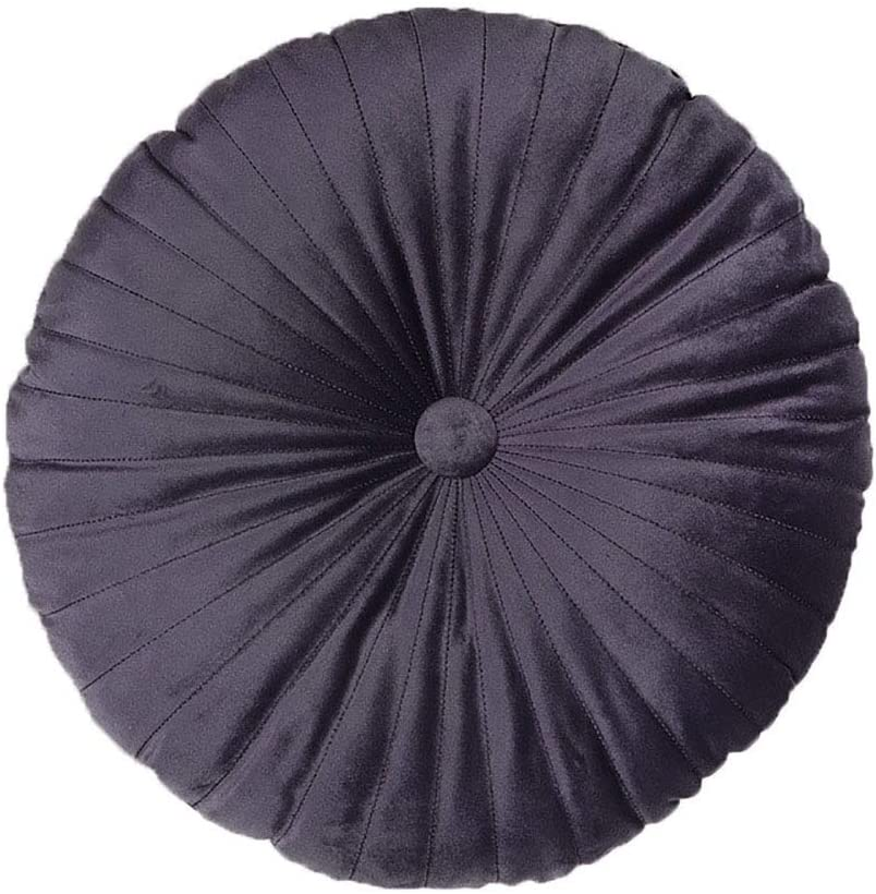 Elero Velvet Round Throw Pillow Pleated Round Pillow Cushion Decoration for Couch Chair Bed Car Dark Grey