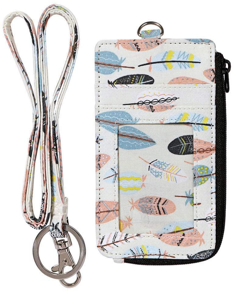 Fashion Badge Holder with Zipper, Cute ID Badge Card Holder Wallet with Lanyard Strap for Offices ID, School ID, Driver Licence