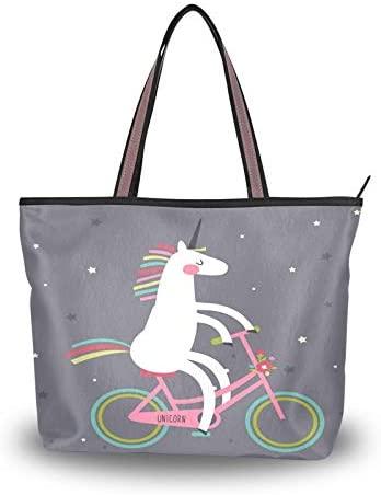 lichenbook Cute Unicorn Print Handbags Tote Bag Shopper Shoulder Bag Top Handle Satchel Purse for Women