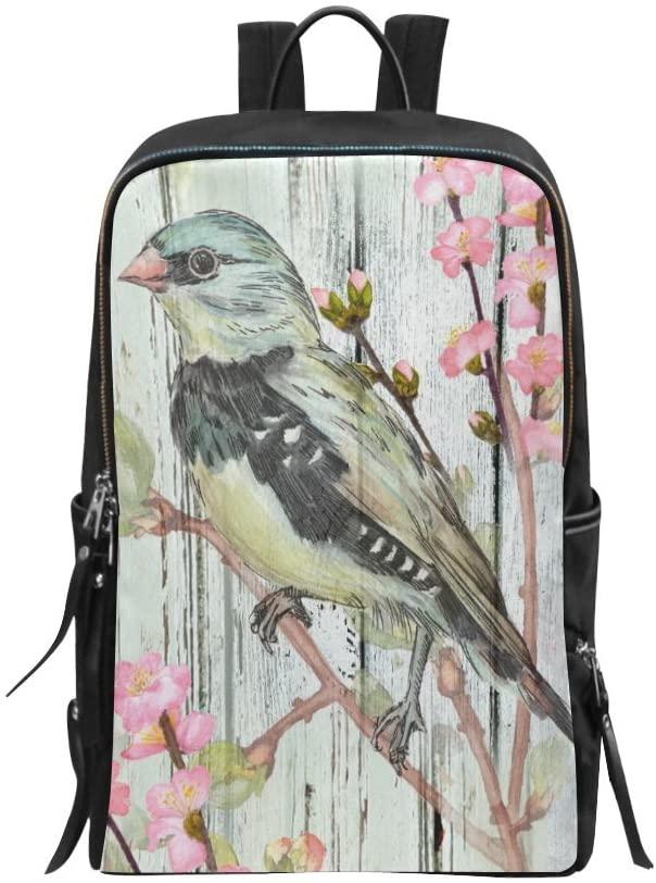 Book Bag Vintage Bird with Flowers on Wooden Design Backpack