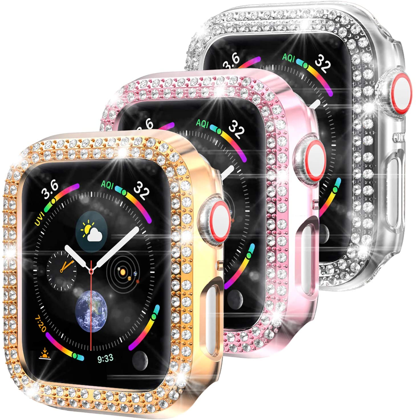 3 Pack-Bharvest Compatible Apple Watch Series 3 and 2 Case 38mm,Protective PC Bumper Cover Bling Crystal Diamond Frame Iwatch Accessories for Women and Girls(Rose+Pink+Clear)