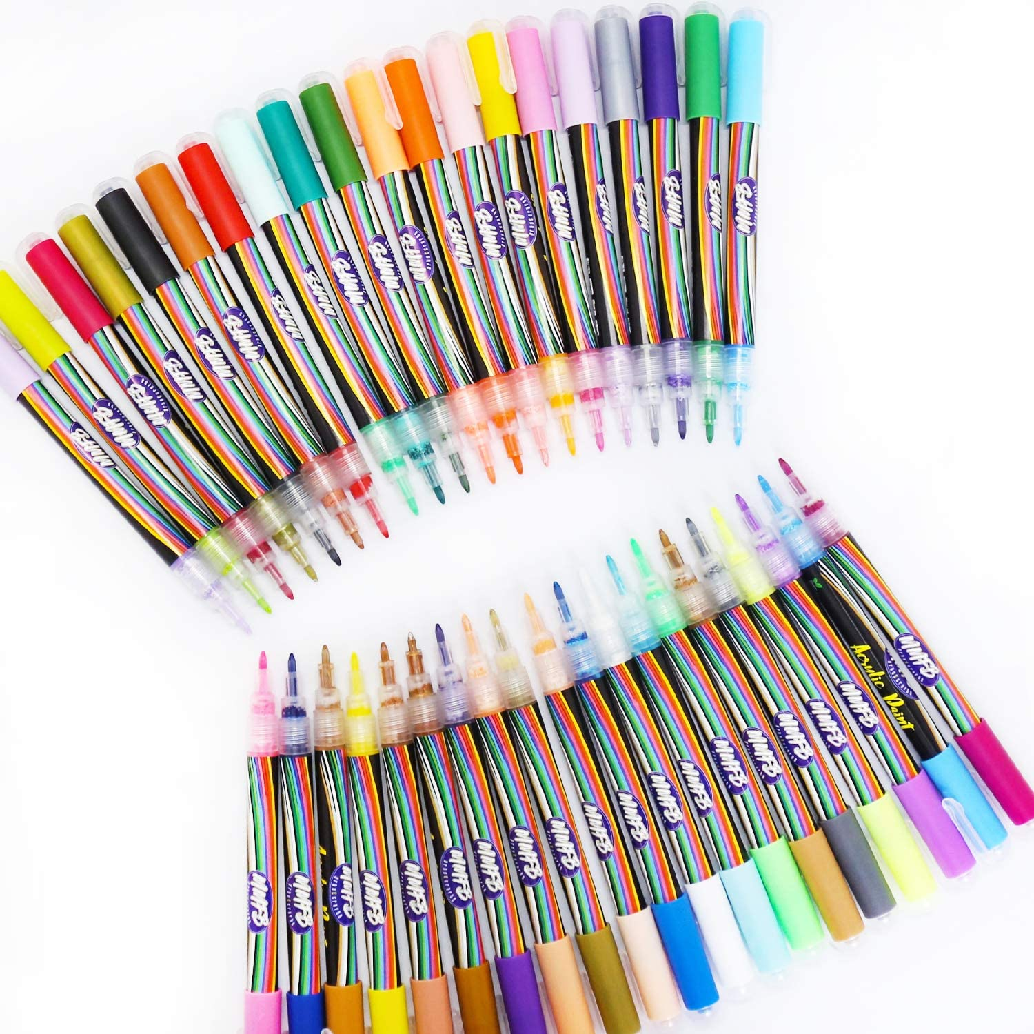 Acrylic Paint Pens (40 Colors Size XF) Craft Paint Markers for Painting Wood, Glass, Rock, Ceramic, Porcelain - Non Toxic Paint Pen with Extra Fine Tip - Pens with Zipper Pouch w/ Splinter Free Caps