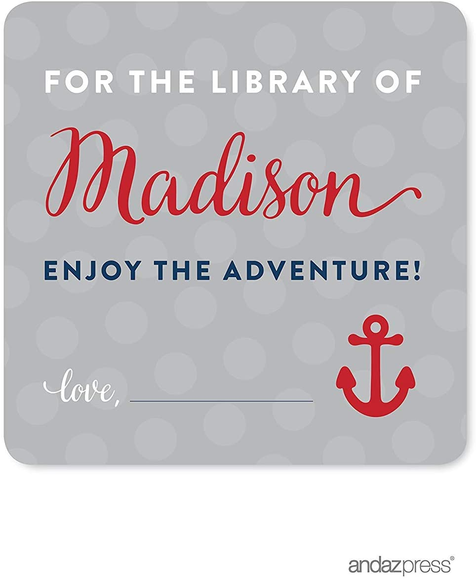 Andaz Press Nautical Baby Shower Collection, Personalized For the Library of Madison Square Label Stickers, 40-pack