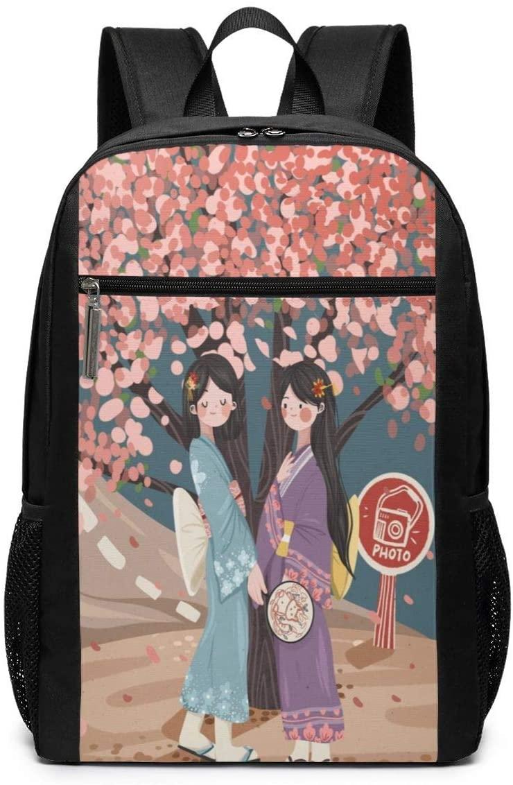 Backpack Travel Kimono Cherry Blossom School Bookbags Shoulder Laptop Daypack College Bag For Womens Mens Boys Girls