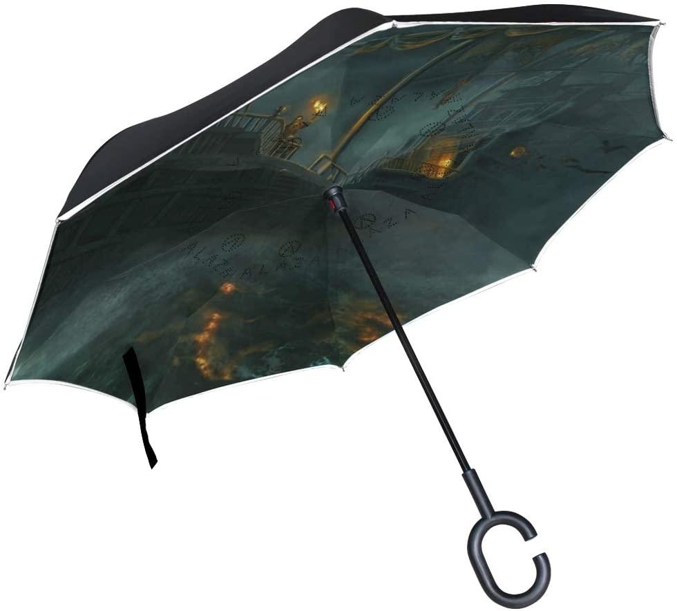 Vipsk Umbrella Reverse Umbrella Halloween Creative Cars Umbrella Double Layer Inverted Umbrella Windproof Straight Waterproof Inside Out Travel Umbrellas
