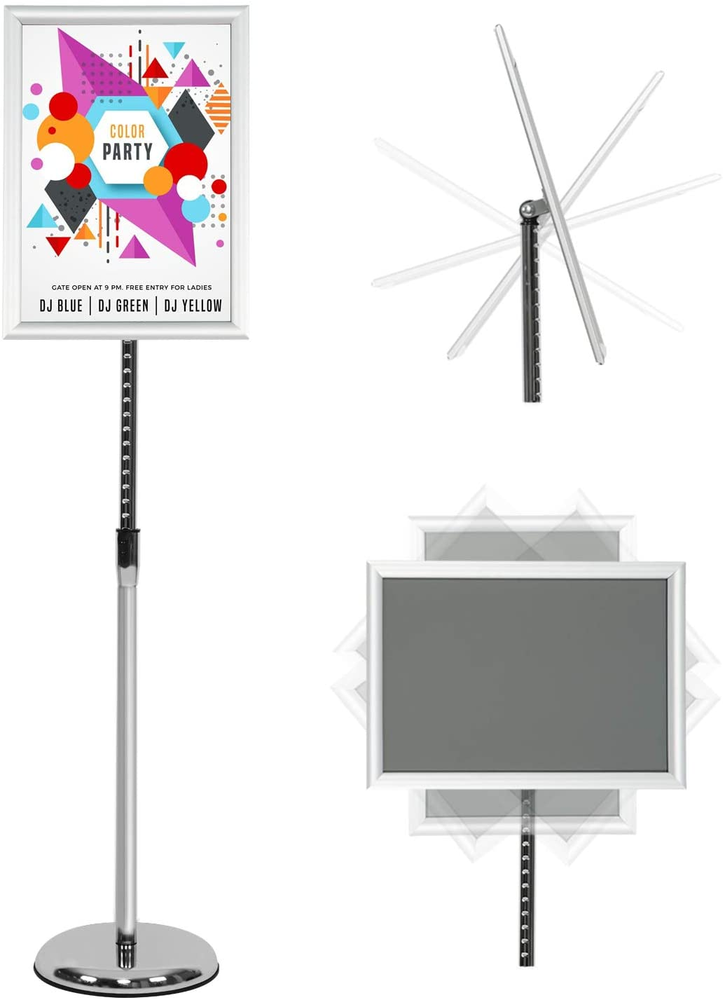 REALWAY Pedestal Poster Holder, Heavy Duty Floor Stand Sign Holder Poster Frame for 11x17 Inch, Vertical and Horizontal View Sign Displayed use for Restaurants Offices Schools etc. Silver