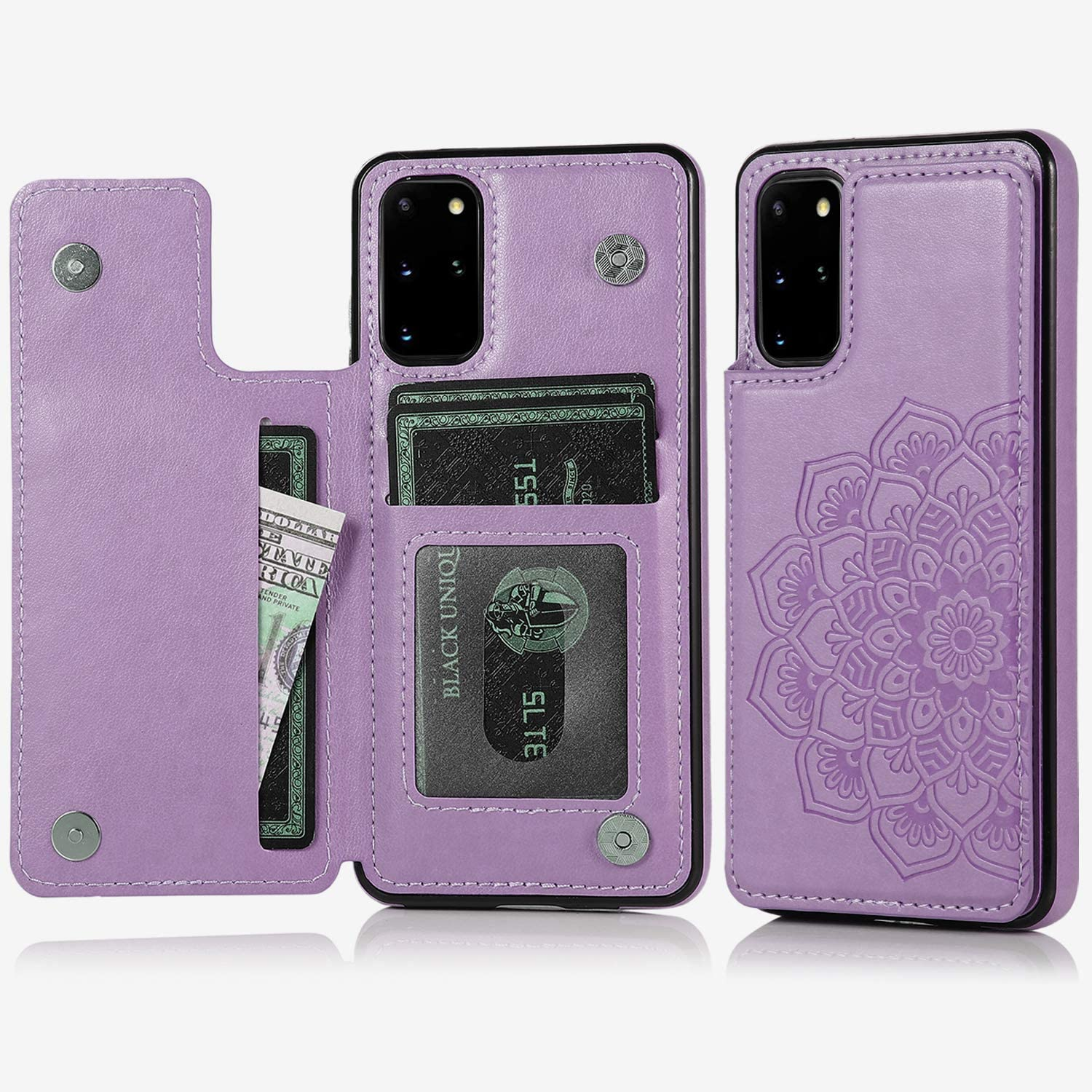 Acxlife Samsung Galaxy S20 Plus 5G Case S20+ Card Credit Holder Wallet Protective Cover with Card Slot and Slim Leather Case for Samsung S20 Plus 6.7Inch (Purple)
