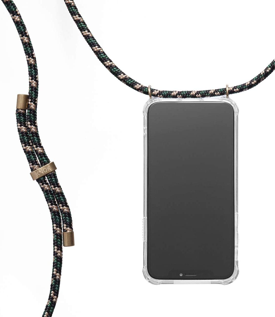 KNOK case Crossbody Phone Necklace | Mobile Cover with Cord Strap Compatible with Samsung Galaxy S9 - Phone Collar Lanyard case (Samsung S9, Camo Green)