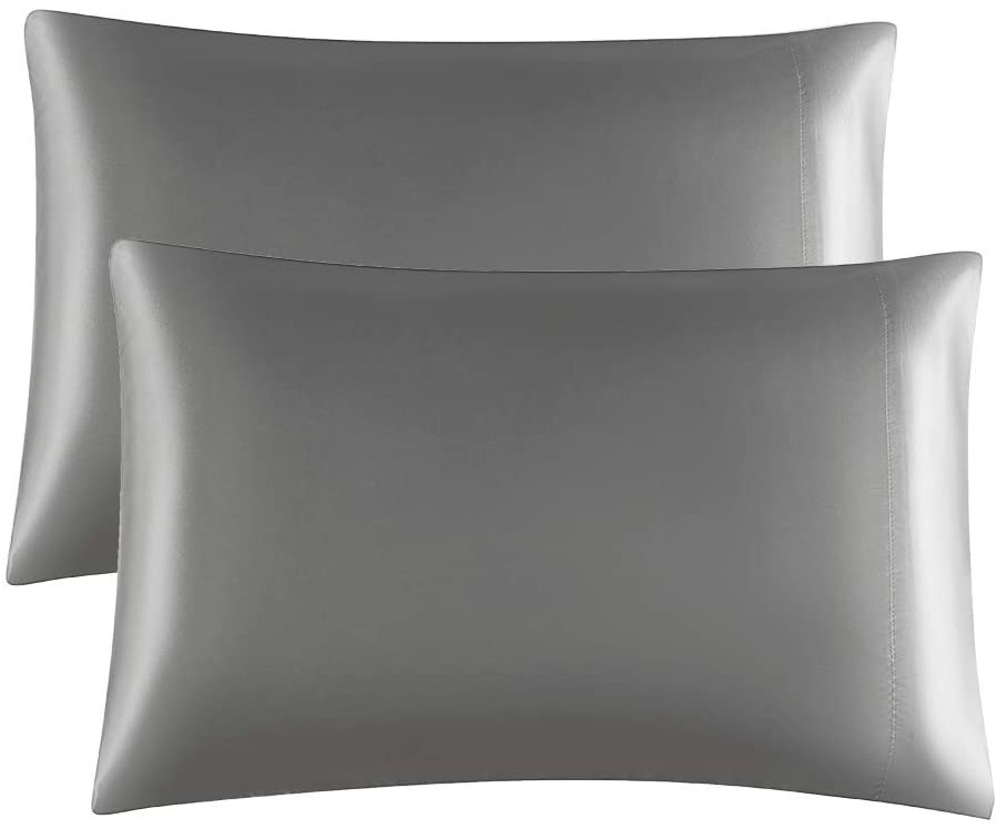 SONORO KATE Satin Pillowcase for Hair and Skin, 2-Pack Pillow Cases, 20x30 inches - Satin Pillow Covers with Envelope Closure (Dark Grey, 2 Pillowcases Standard)