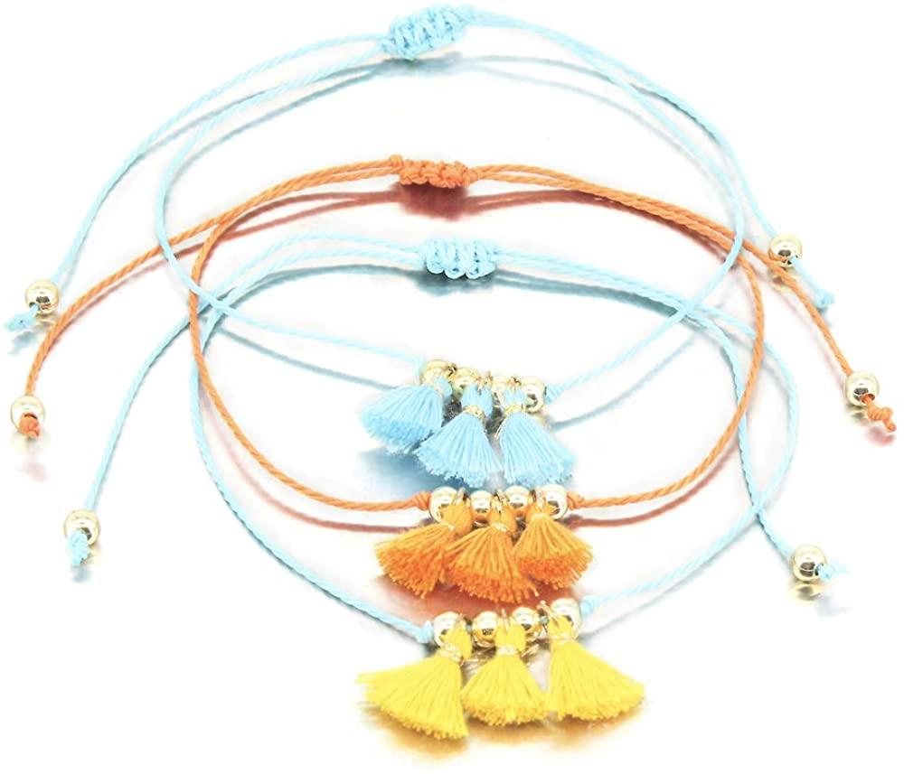 FANCY SHINY Tassel Anklet Boho Ankle Bracelet for Women Handmade String Beach Sea Jewelry