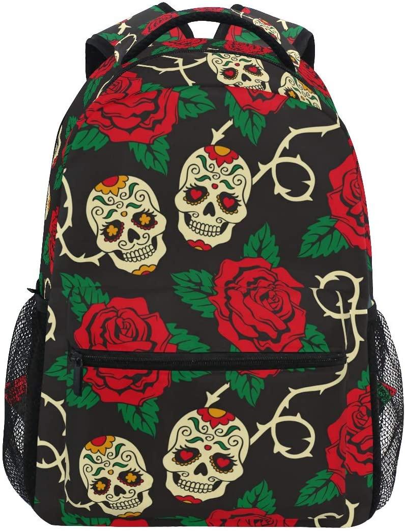 ALAZA Sugar Skull Rose Flower Floral Large Backpack Personalized Laptop iPad Tablet Travel School Bag with Multiple Pockets