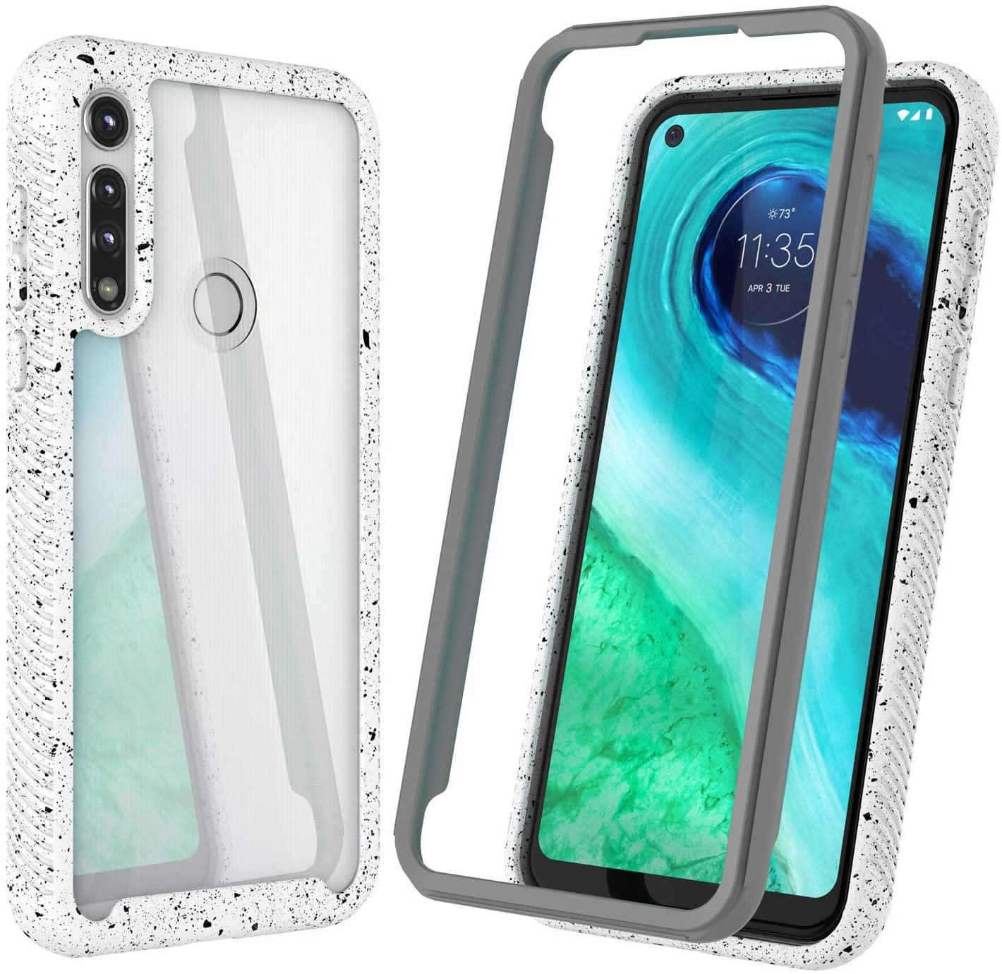 Njjex Moto G Fast Case, Motorola G Fast Case 2020, [Npatt] Hybrid Impact Transparent Clear Back Soft TPU Bumper Case + PC Plastic Front Cover Shockproof Phone Cover for Motorola G Fast [White]