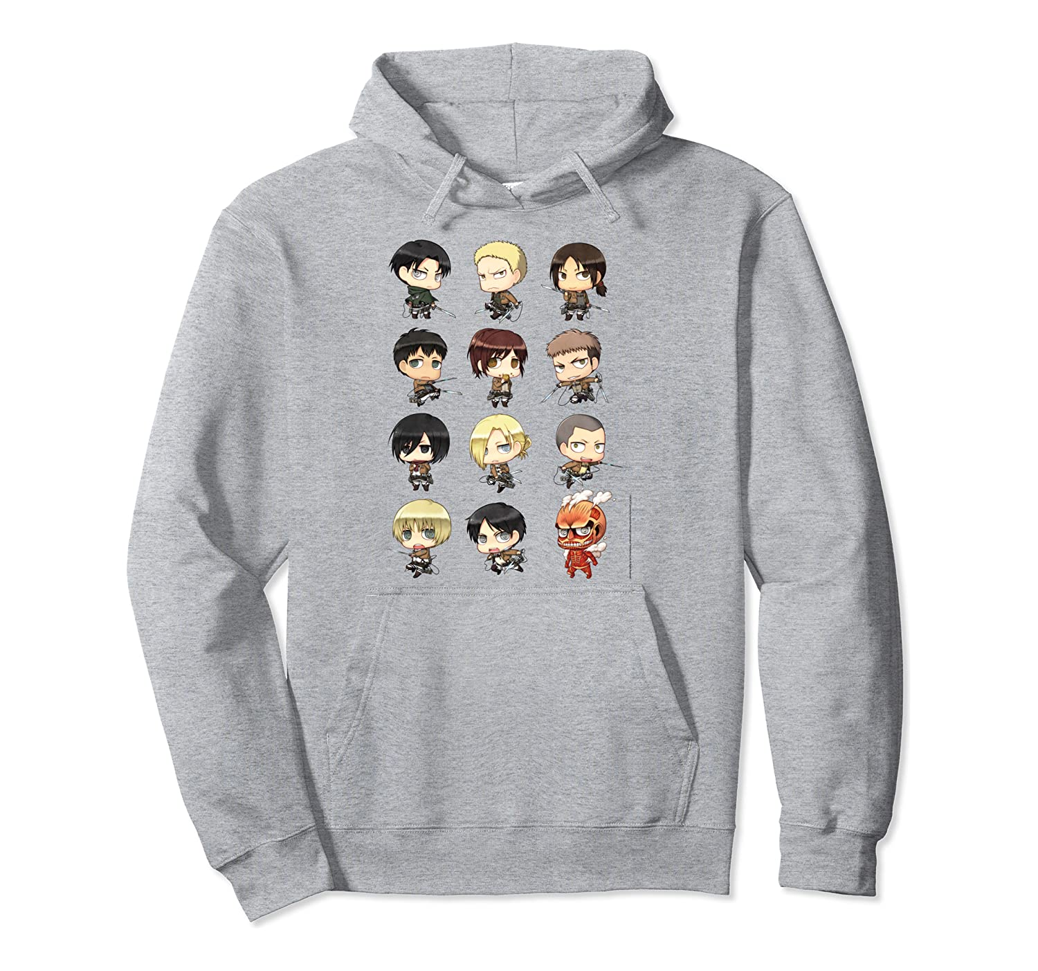 Attack on Titan Chibi All Characters Pullover Hoodie