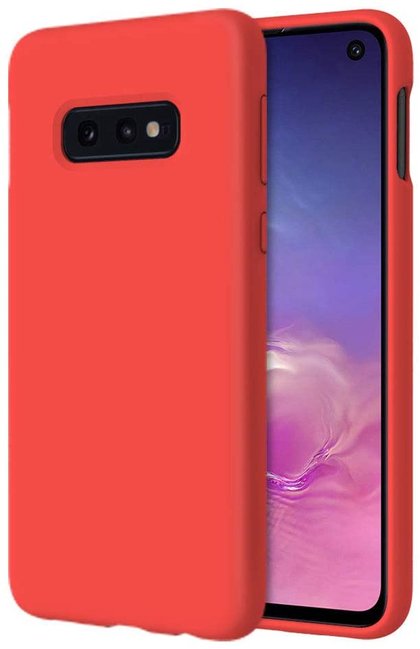 UrSpeedtekLive Slim Series Galaxy S10e Case, Liquid Silicone Gel Rubber Shockproof Cover Case with Soft Microfiber Lining Full Body Protection for Samsung Galaxy S10E, Red