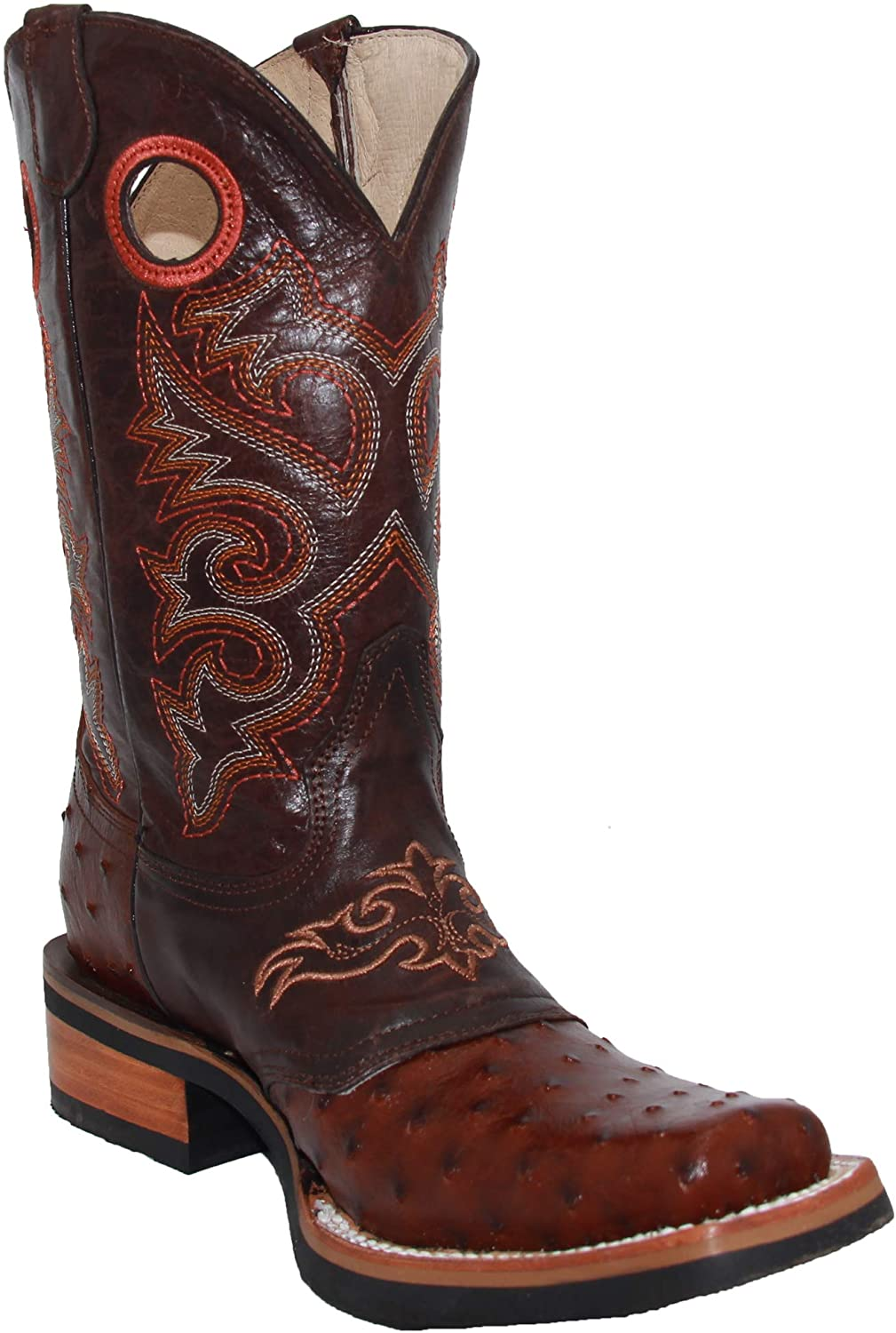 Western Shops Mens Genuine Cowhide Leather Square Toe Ostrich Quill Print Western Cowboy Boots