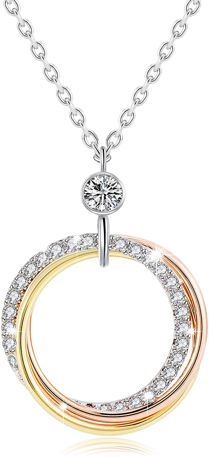 ZRU Circle Pendant Necklace 18K Rose Gold & White Gold Plated Jewelry for Womens Girls with Cubic Zirconia Gift