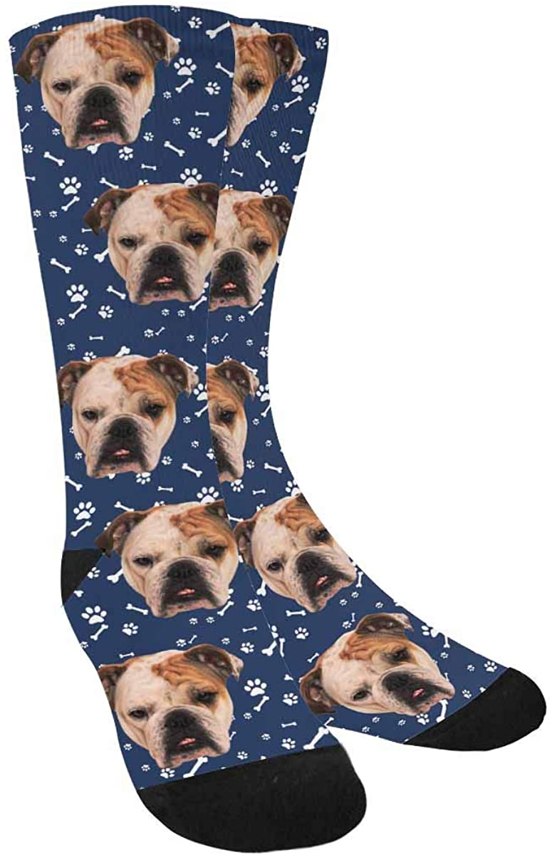 Personalized Your Face Photo Soft Socks for Men and Women 15.35 inch, Pet Dog Tracks Paws Bones